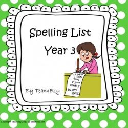 Spelling list year 3