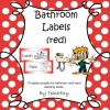 Bathroom Labels Red: 8 pages