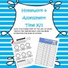 Time Homework and Assessment Time K/1