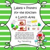 Lunch & Kitchen Labels Green: 15 pages