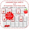 Handwriting Worksheets SAMPLE A to Z - Australian & NZ fonts