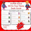 Super Kids Name Writing Desk Tags