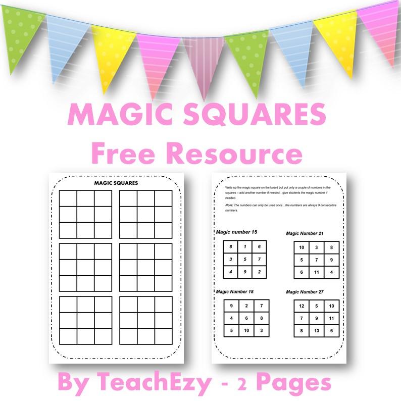 Magic squares Free Resource cover