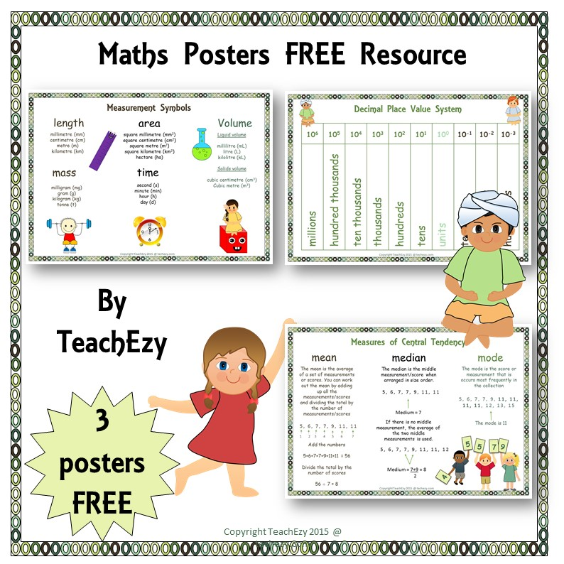 maths posters free resource cover