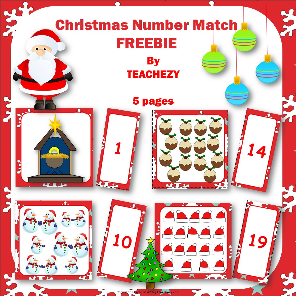 christmas-number-match-teaching resource